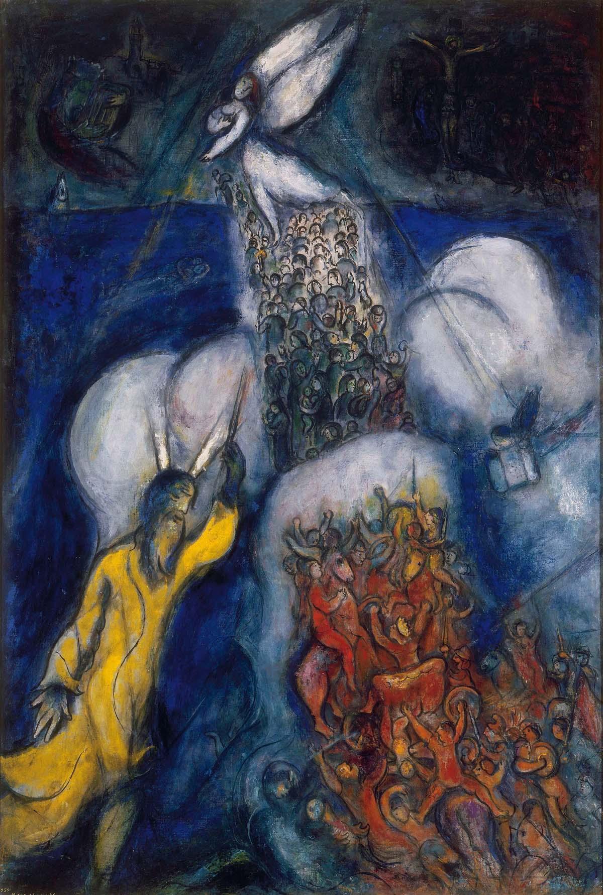Marc Chagall: Die Durchquerung des Roten Meeres («Les traversée de la mer rouge»), 1955