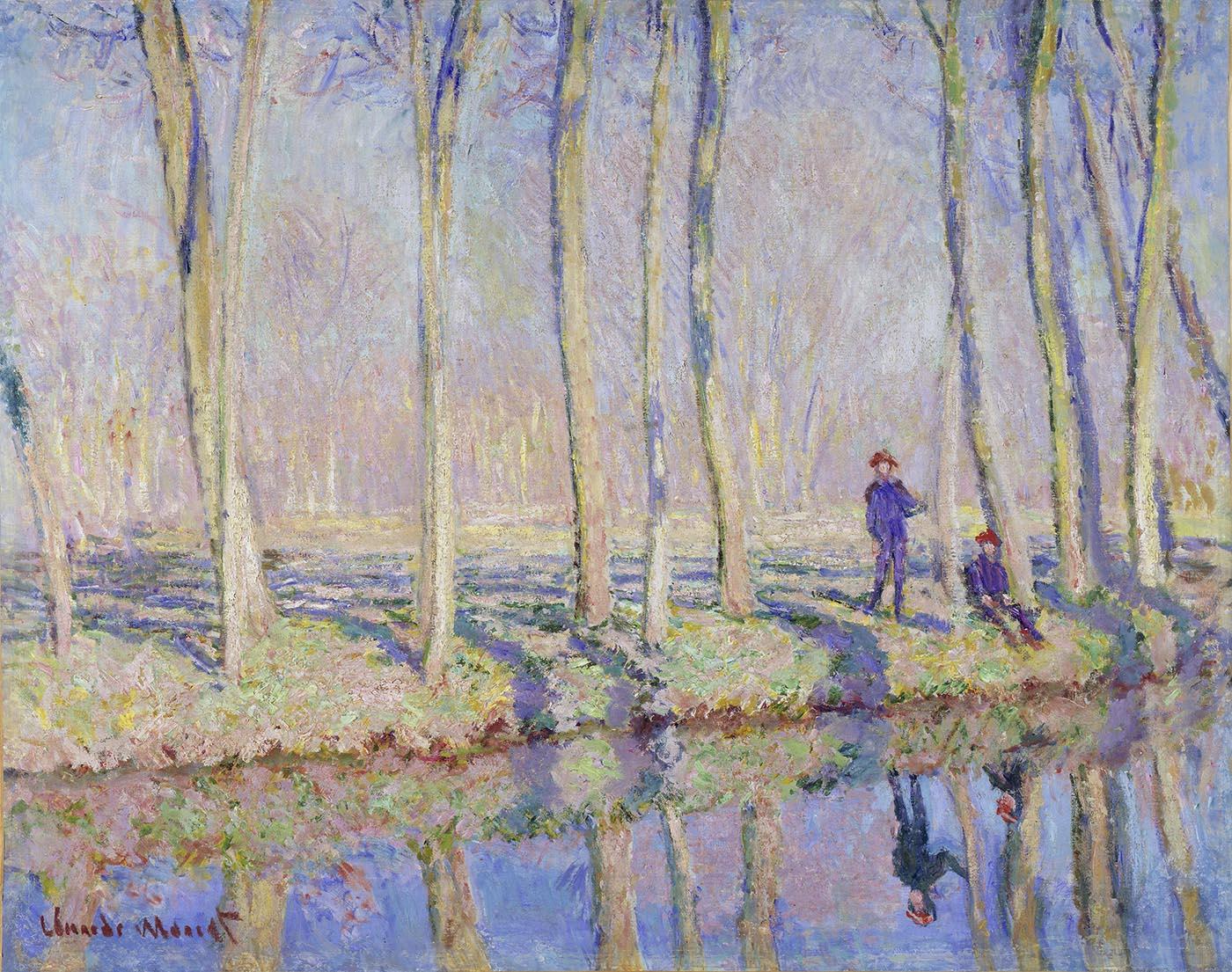 Claude Monet, Jean-Pierre Hoschedé und Michel Monet am Ufer der Epte, um 1887–90