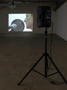 Itziar Okariz, Irrintzi Repetition, 2007. Installationsansicht Kunsthaus Baselland, 2017. Foto: Serge Hasenböhler