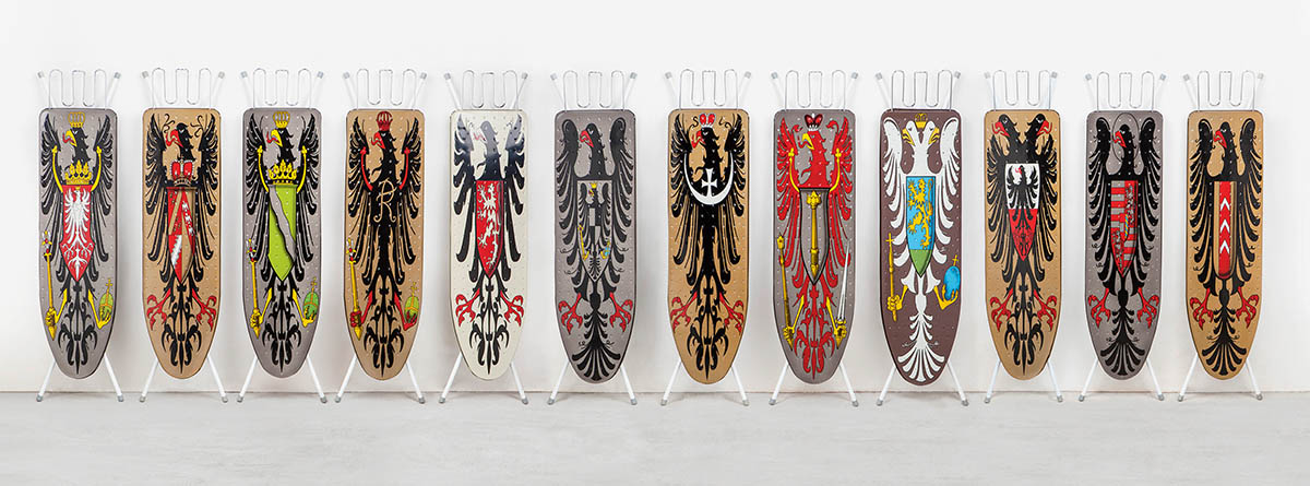 Wim Delvoye, Installation of 12 Ironing Boards, 1990