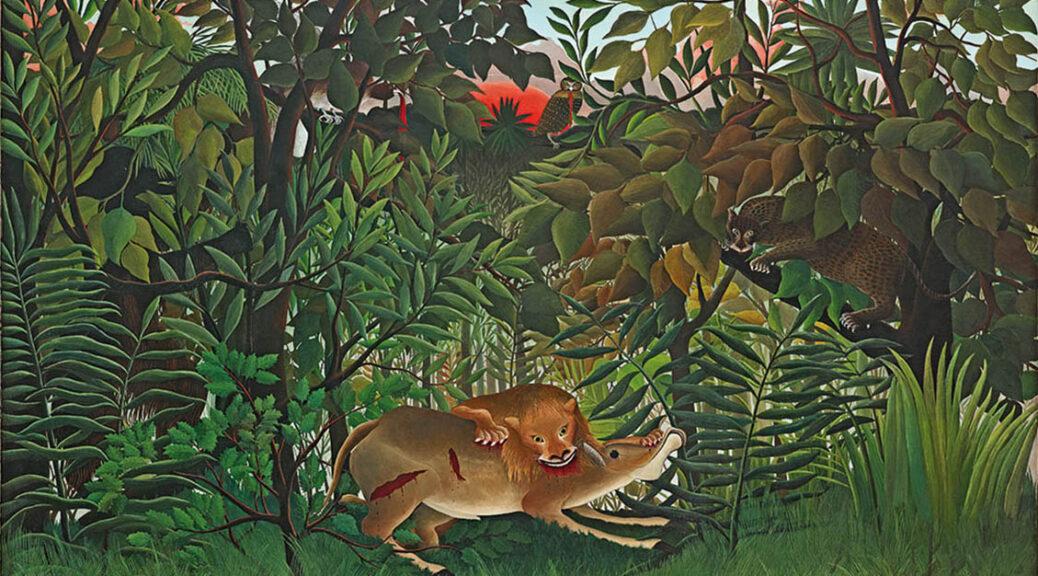 Henri Rousseau, Der hungrige Löwe wirft sich auf die Antilope, 1898/1905, Fondation Beyeler, Riehen/Basel, Sammlung Beyeler