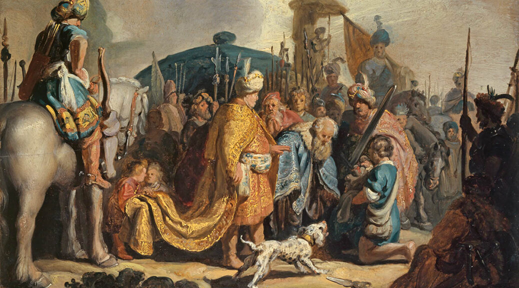 Rembrandt Harmensz. van Rijn (1606–1669), David übergibt Goliaths Haupt dem König Saul, 1627, Kunstmuseum Basel, Vermächtnis Max Geldner