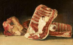 Francisco de Goya, Schafskopf und Rippenstücke (Cabeza de cordero y costillares), um 1808–1812